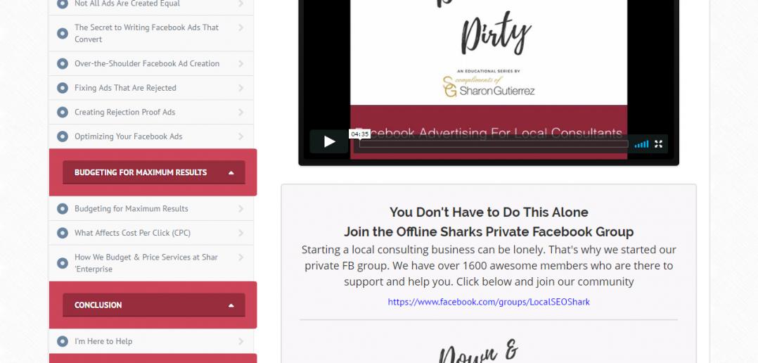Screenshot Overview Down&Dirty FB Ads