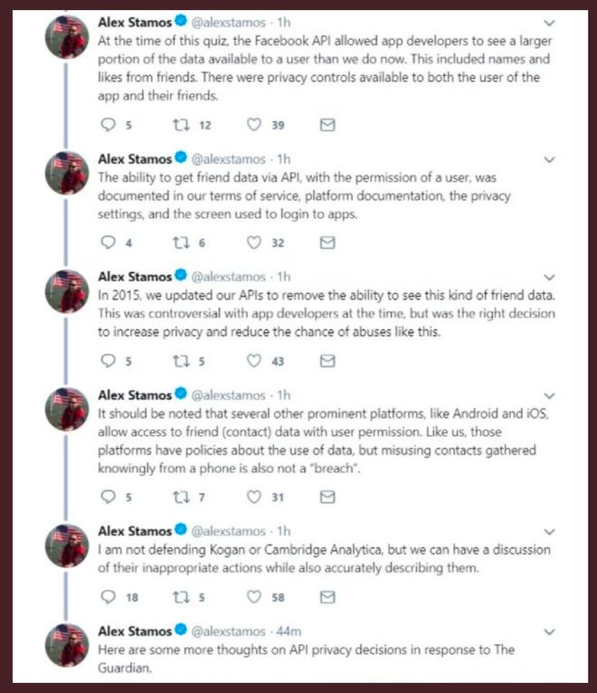 Hàng loạt các bài tweet đã bị Alex Stamos xoá