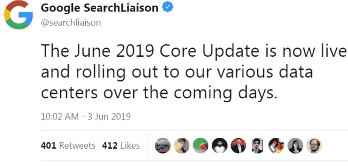 Google cập nhật thuật toán lõi rộng tháng 6/2019