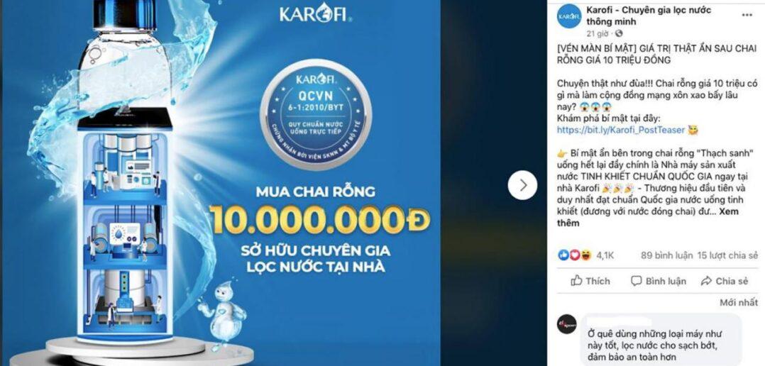 """Khó có sự liên hệ giữa việc """"Mua chai nước 10 triệu được tặng kèm 1 cái máy lọc nước"""" ra thành thông điệp """"Máy lọc nước Karofi cho ra nước uống đạt chuẩn quốc gia"""""""