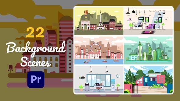 22 Background Scenes Premiere Pro MOGRT Videohive